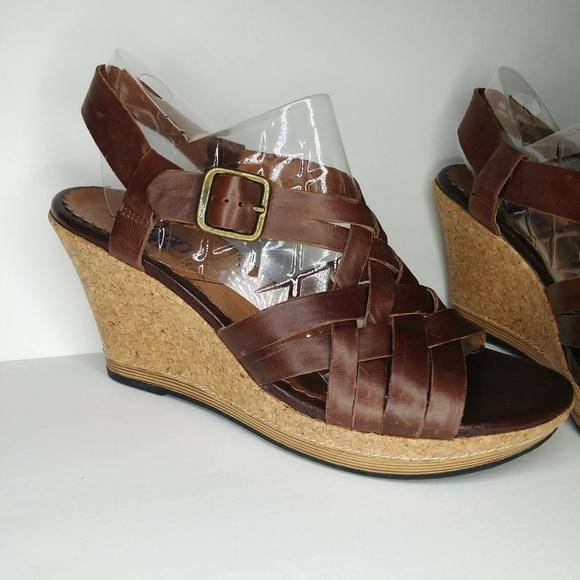 3af8c8a5ce8 Clarks Shoes - Clarks Indigo Strappy Cork Wedge Sandals Leather